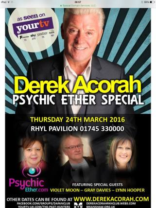 Rhyl advert with Derek Acorah